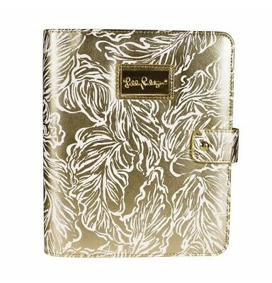 NWT Lilly Pulitzer Agenda Folio Gold Leaf Leatherette Cover w/ Pen Loop $45