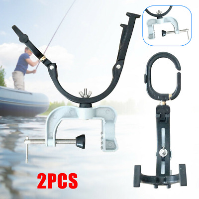 2 Pack Fishing Rod Pole Rest Universal Boat Raft Clamp On Grip Holder Fish Tool