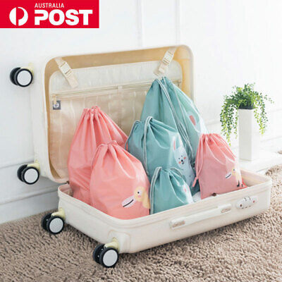 3pcs Drawstring Travel Storage Bags Luggage Suitcase Clothes Organiser Pouch AU