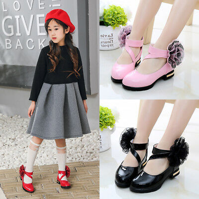 Fashion Princess Children Girls Leather Shoes Flowers Girls Dance Shoes Party