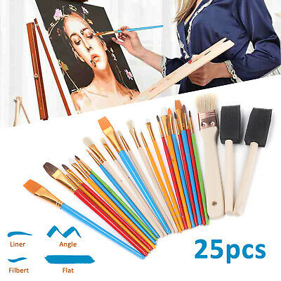 25Pcs Artico Artist Painting Brushes Set Paint Acrylic Oil Watercolour Art Craft