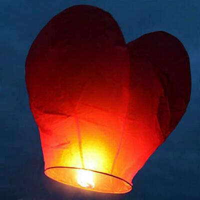 30 X Red Heart Traditional Eco Sky Lanterns Anniversary Party Events Celebration