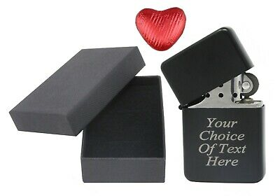 Engraved Personalised Black Star Lighter Ideal Birthday Present + Box + Choc