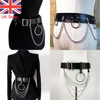Adjustable Punk Faux Leather Belt Laser Metal Chain Hoop Rings Waist Black Strap