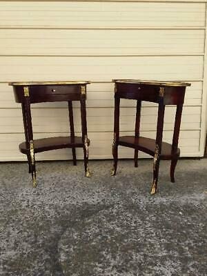 Pair Of French Louis Style 1 Drawer 2 Tier Kidney Shaped Side/ Console Tables