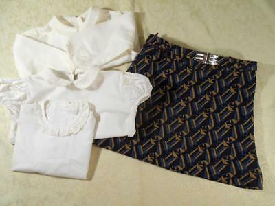 Htf Vintage Girls Paris Designer Jean Cacharel Skirt W/3 Sylvia White Blouses,4T