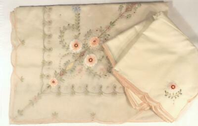 """Vintage Tablecloth W/12 Napkins W/Spectacular Embroidery On Organdy 70""""X108"""""""