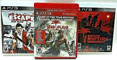 3x LOT Dead Island GOTY ESCAPE Riptide COMPLETE Sony PlayStation PS3 VIDEO GAMES