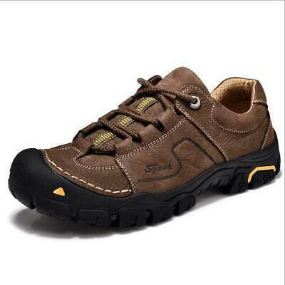 Men's Genuine Leather British Lace up Outdoor Trekking Shoes Non-Slip Sneakers