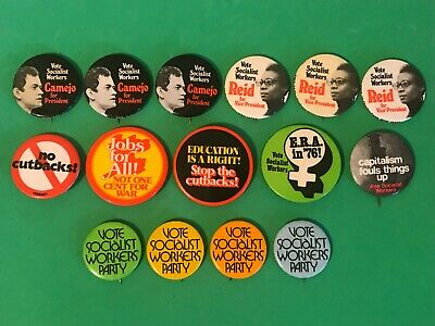 15 Vintage SOCIALIST WORKERS PARTY Political Pin Buttons 1976 Reid Camejo ERA 76