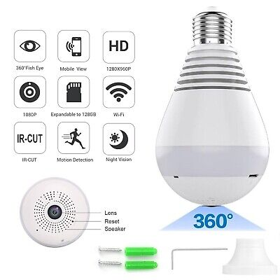 HD 1080P 360 Panoramic Hidden Wifi IP Camera Light Bulb Home Security Lamp Cam