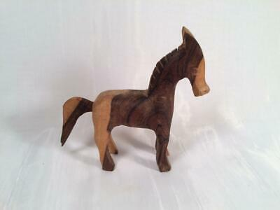 "Rustic Hand Carved Wooden Horse Beautiful Two Toned Wood 5"" Tall"