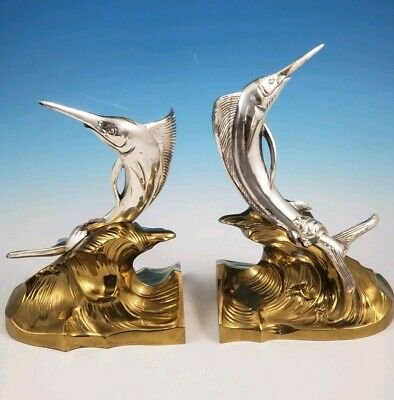 Pair of Brass & Silver Bookends of Sail Sword Bill Marlin Fish Design