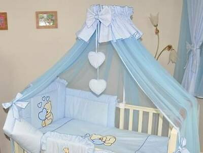 BABY COT BED CANOPY 480cm WIDTH + FLOOR FREE STAND / HOLDER BLUE CHECK HEART