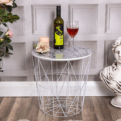 White Round Wire Table Geometric Metal Marble Top Side Loft Hallway Chic Storage