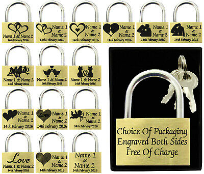 Anniversary Present, Wedding Favour 40mm Love Lock Personalised Engraved Padlock