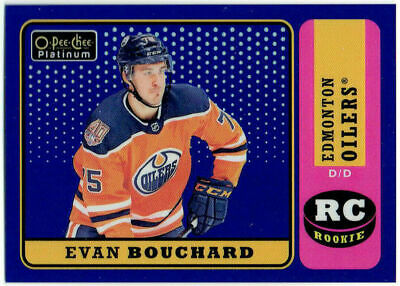 2018-19 Upper Deck OPC Platinum Retro Blue Rainbow EVAN BOUCHARD R-83 #33/149 RC