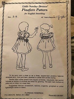 Little Sunday Dresses Pinafore Pattern for English Smocking - size 3-4