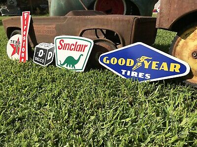 Antique Vintage Old Style Firestone Sinclair Texaco Delco Tire Gas Oil Signs