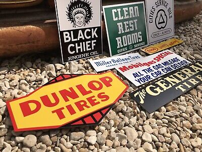 Antique Vintage Old Style Dunlop Mobilgas Cities General Tire Gas Oil Signs