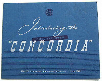 "Aircraft Booklet 1946 ""Introducing the CONCORDIA"" Cunliffe Owen TBE 12 pages"