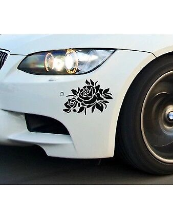 2 pc Rose flower Sticker Car Bumper Van Window Laptop JDW VINYL Decals Stickers