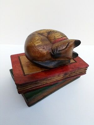 Wooden Cat Figurine Sleeping on the Books ,Hand Painted ,Hand Carved Ornament