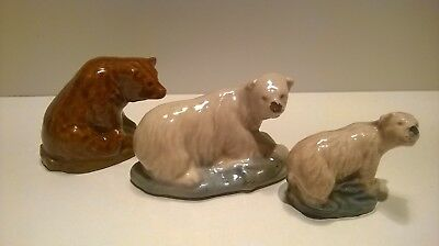 Vintage Ceramic Wade Whimsies Animals - Whoppa Brown Bear, Polar Bear+small Bear