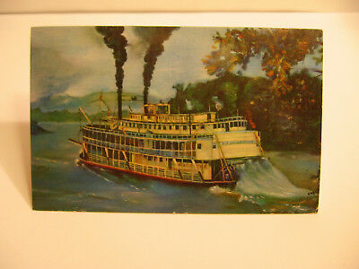 """1960 """"An Old-Fashioned Mississippi River Stern Wheeler"""" Postcard"""