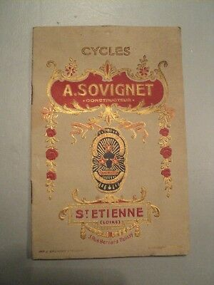 Catalogue Cycles Z.A.S A. Sovignet St Etienne Vers 1910 Vélo Bicycle Bicyclette