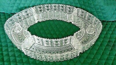 Set of 4 Vintage Cut Glass Curved Condiment Dishes / Built in Candleholders