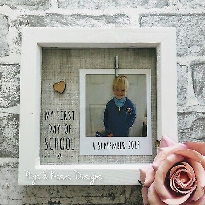 """My First Day Of School 7x7"""" Personalised Keepsake Box Frame Home Gift"""