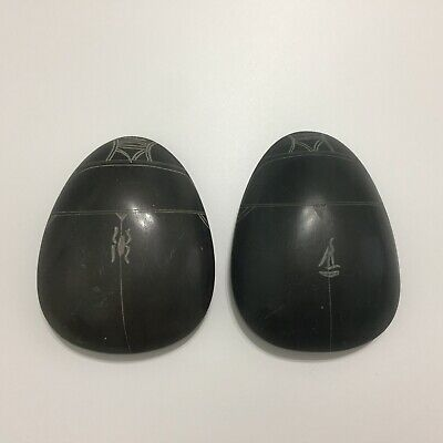 2 Vintage Ancient Egyptian Amulet Large Scarab Beetle Carved Stone Hieroglyphics