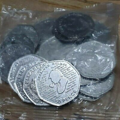Sherlock Holmes 50p Coins. Full, Bank Sealed Bag  *2019* 20 coins Uncirculated