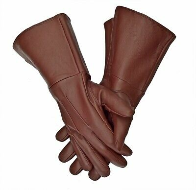 Women Medieval Leather Long Arm Cuff Leather Gloves