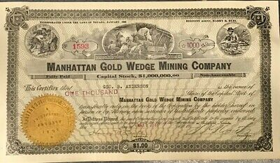 Manhattan Gold Wedge Mining Company Stock Certificate (3/24/1917) 1,000 Shares