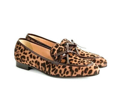 c7b2e686c98b J.Crew Leopard Loafers Flats Shoes 9 Academy Calf Hair & Brown Leather w/