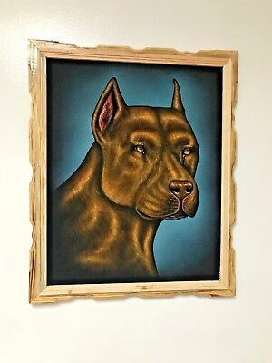 "PITBULL BROWN   , Hand Painted , VELVET PAINTING , 18"" BY 22"" W , FRAME , DECOR"