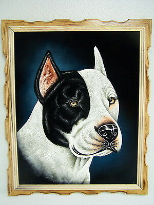 "18""x 22"" Hand Painted Pitbull Dog,velvet Painting,dogs,pit Bull Paintings,"