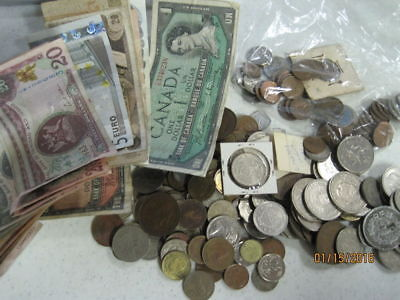 Foreign Coin and Paper Bank Note Collection - Some Silver included!