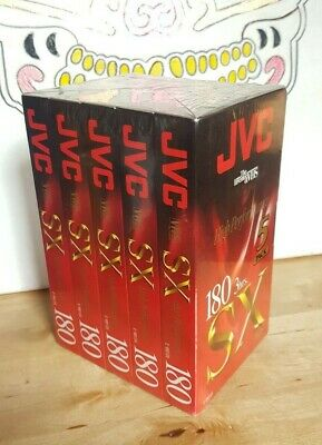 JVC E-180SX Video Cassettes. SX180 5 Pack VHS Tapes, New Sealed.