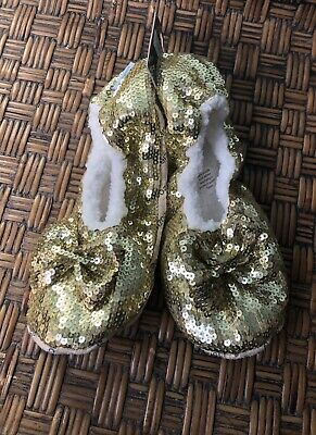 SNOOZIES Ballerina Bling Slippers Large 9-10 Non-Skid Soles-Gold Sequins NWT NEW