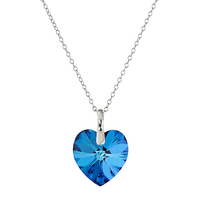 Crystaluxe Bermuda Blue Swarovski Crystal Heart Pendant in Sterling Silver