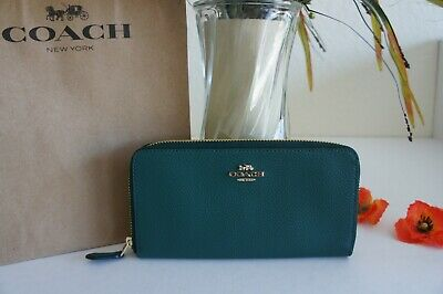 NWT Coach F16612  Pebble Leather Accordion Zip Wallet Gold/Jade $250