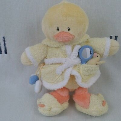 Baby Gund Yellow Plush Little Quack-Ups Ducky in Bathrobe and Slippers with Toys