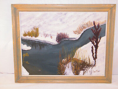 WINTER SCENE ONTARIO OIL PAINING SNOWY RIVER STREAM FRAMED ART by WHITLOW