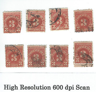 3 CENT US POSTAGE DUE STAMPS LOT of 8 THREE CENT STAMP SCOTT ? Lot A