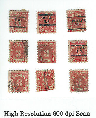 3 CENT US POSTAGE DUE STAMPS LOT of 9 THREE CENT STAMP SCOTT ? Lot B
