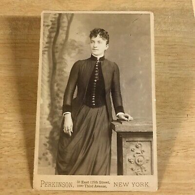 Cabinet Photo YOUNG WOMAN FASHION by PERKINSON NEW YORK NYC antique