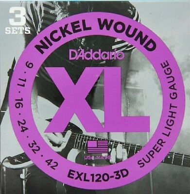 3 Sets D'Addario EXL120 Electric Guitar Strings 9-42 Super Light exl120-3D